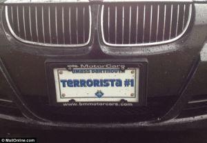 terrorists license plate?